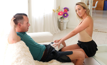 Stepmom Massages Stepson's Huge Cock