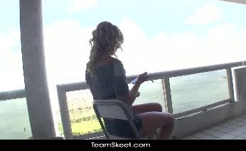 Sami St. Clair strips off her clothes at the balcony