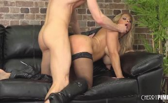 Alyssa Leaves Stockings On While She Fucks