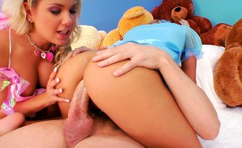 Sexy blondes in baby clothes get anal action